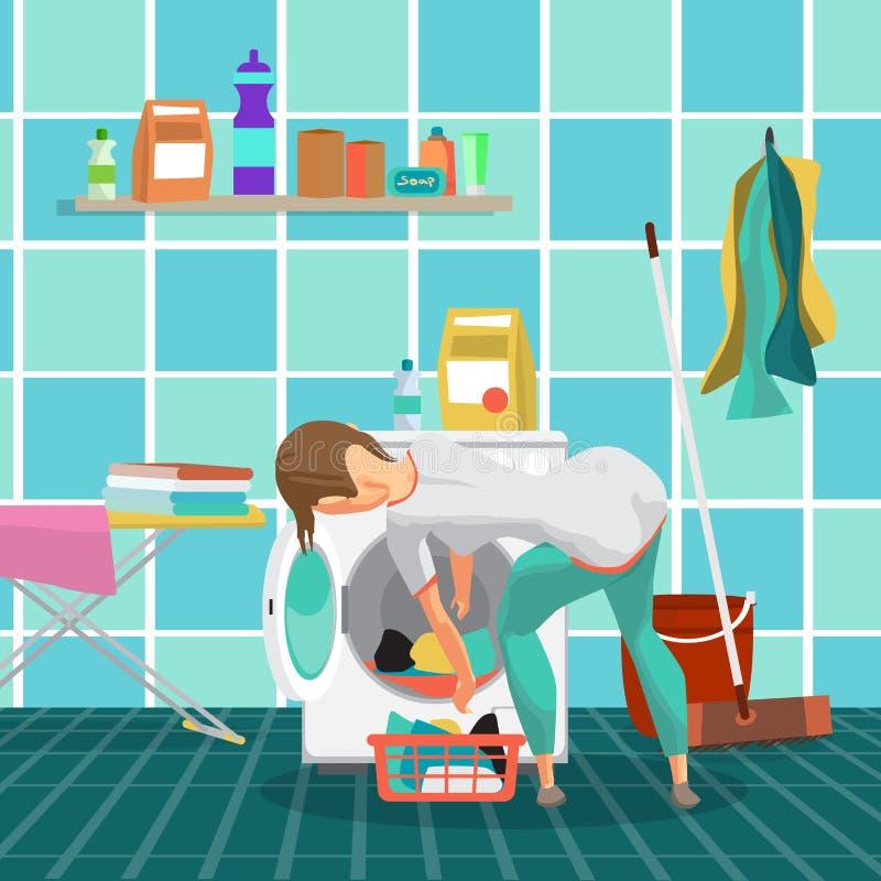 La femme au foyer de jeune femme lave des vêtements dans la machine à laver illustration libre de droits