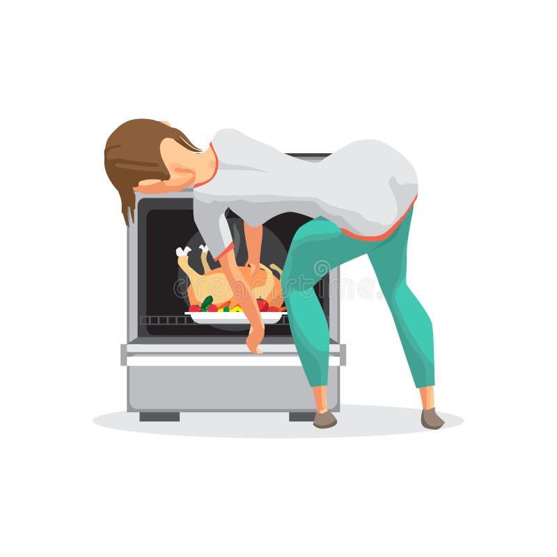 La femme au foyer de jeune femme prend un poulet hors d'un four Prepa de fille illustration de vecteur