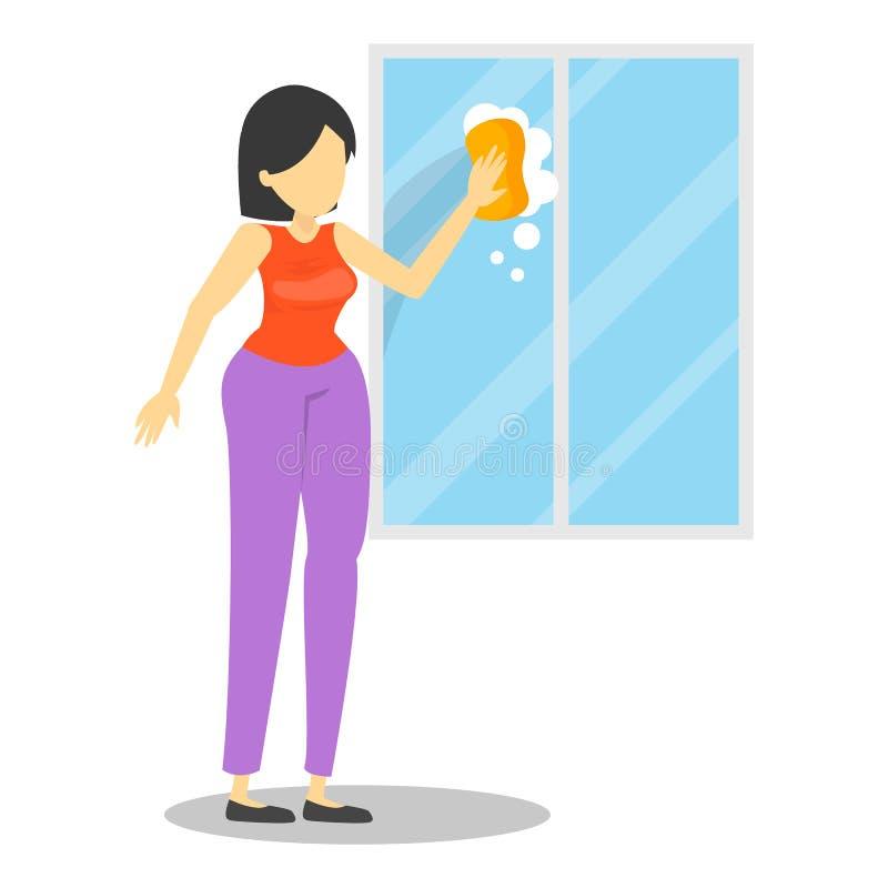 La femme au foyer de femme lavent la fenêtre utilisant l'éponge illustration de vecteur