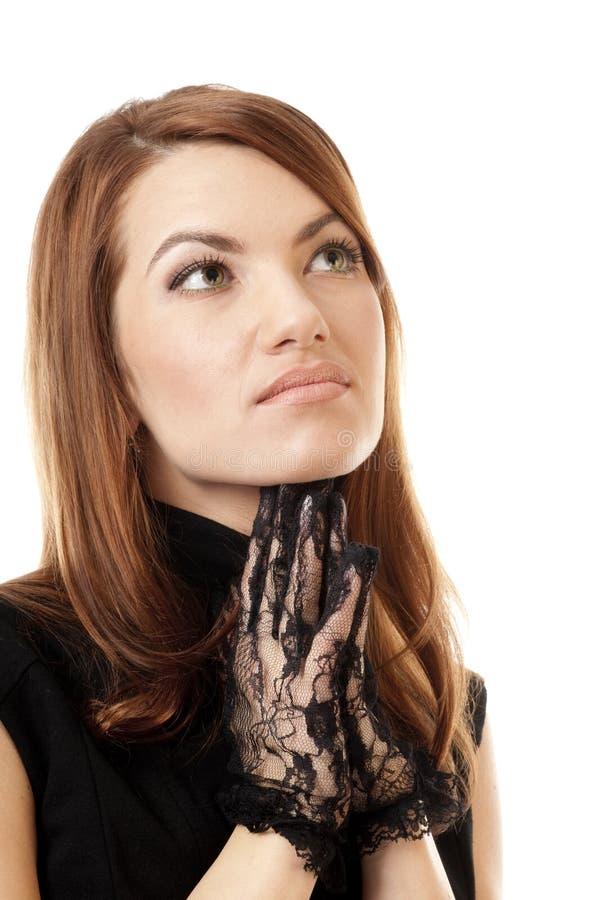 La femme avec des paumes puted le togather images stock
