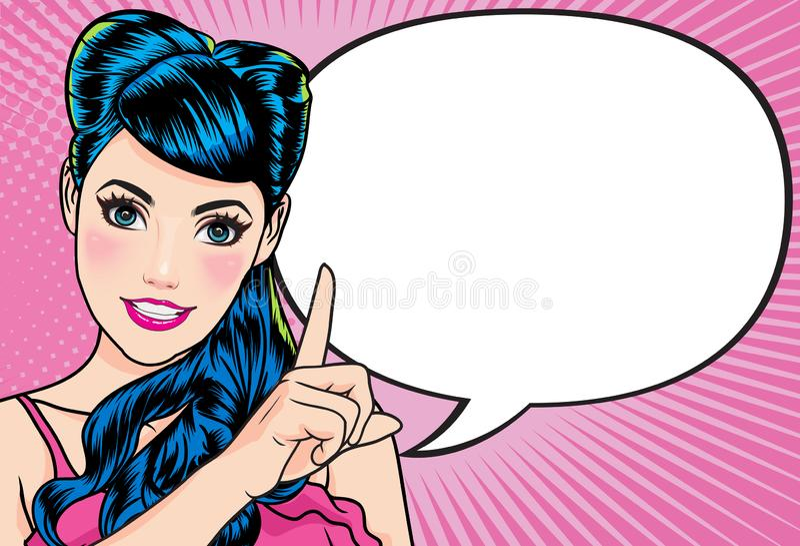 La femme avec l'indication par les doigts dit la bulle comique photographie stock