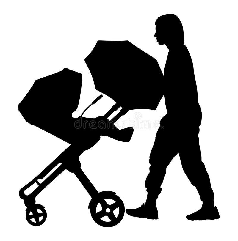 La femme avec le bébé et le landau silhouettent d'isolement sur le fond blanc, vecteur de voiture d'enfant illustration libre de droits