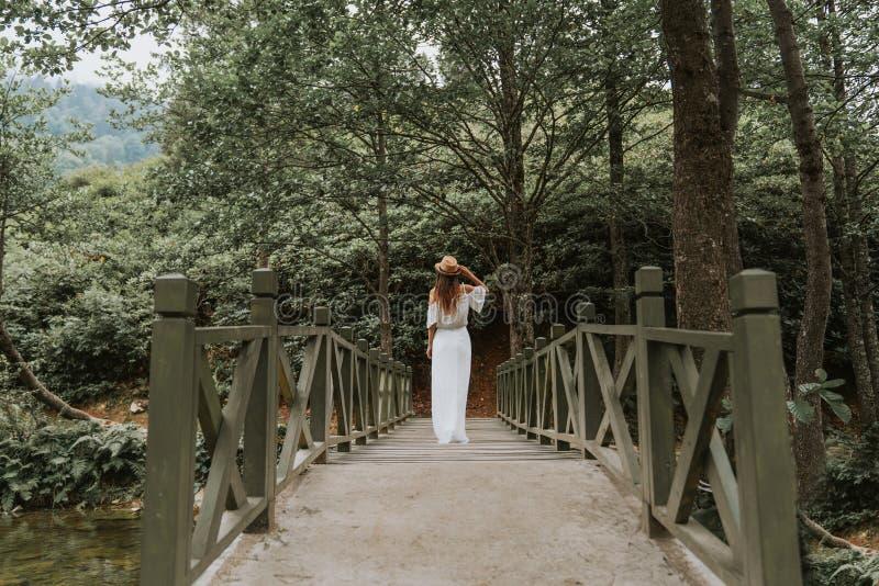 La femme avec le chapeau et le blanc habillent la position sur le pont en bois en nature image stock