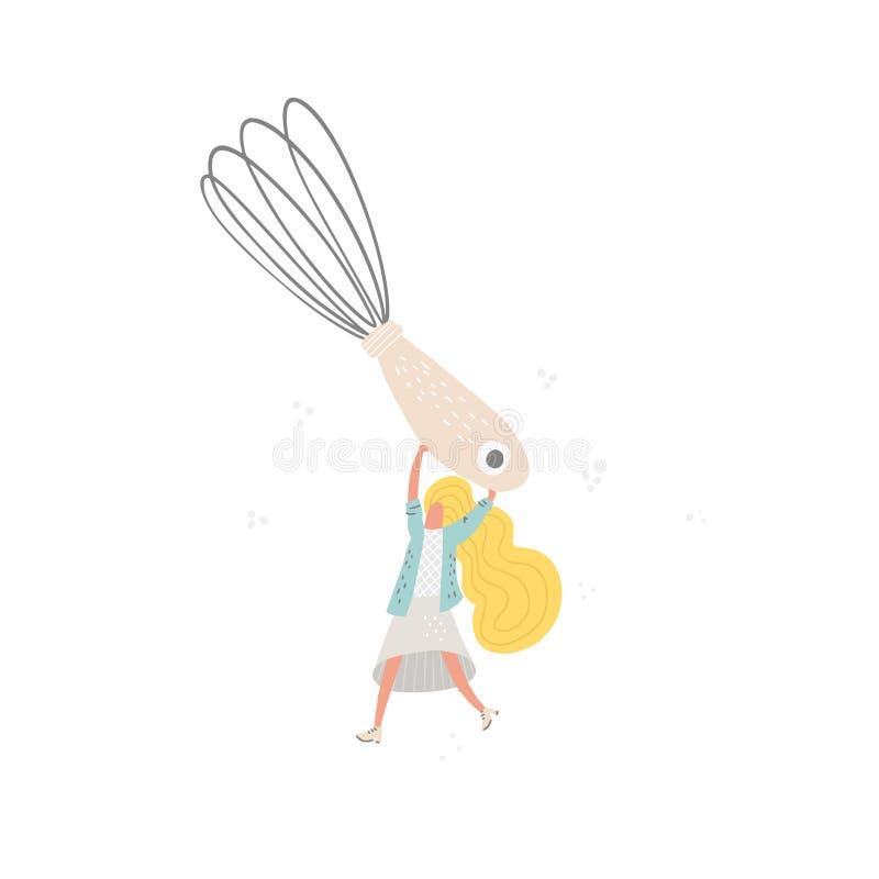 La femme avec le fil battent illustration stock