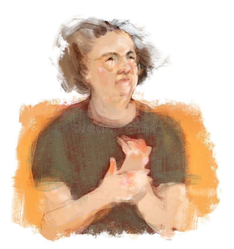 La femme avec le frottage de douleur d'arthrite remet la vignette d'illustration illustration stock