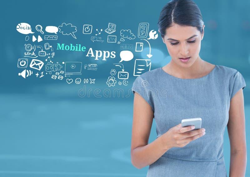 La femme avec le téléphone et le mobile Apps textotent avec des graphiques de dessins images libres de droits