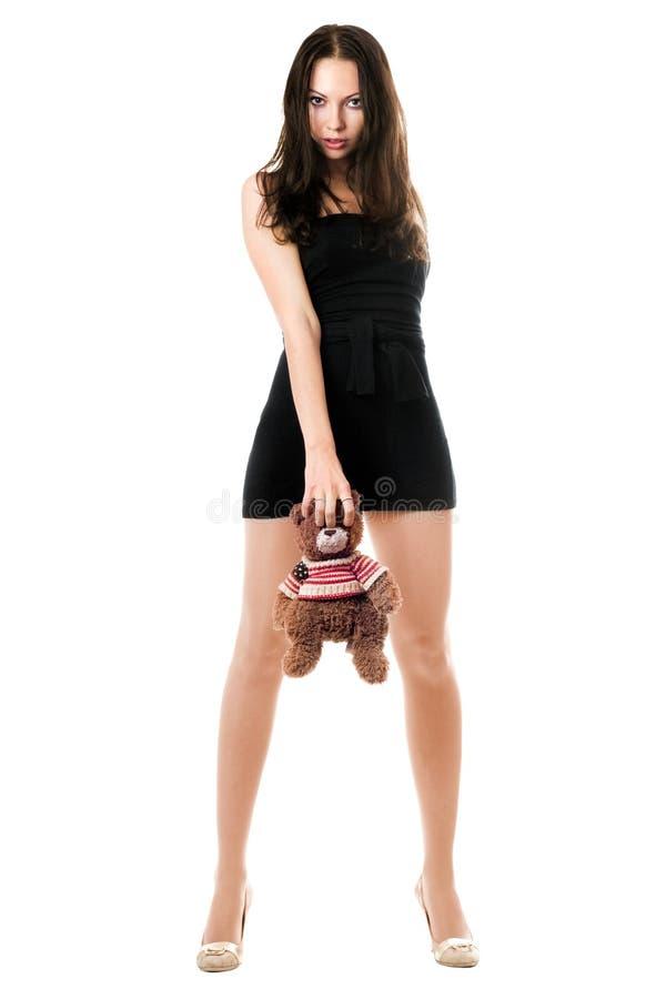 La femme avec nounours-portent photographie stock libre de droits