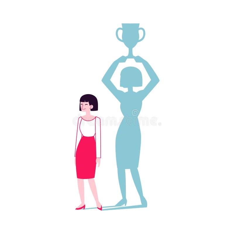 La femme avec une ombre de gagnant tenant l'illustration plate de vecteur de tasse a isolé illustration de vecteur