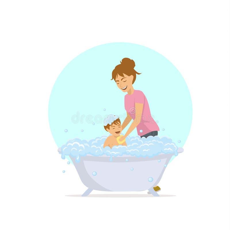 la femme baignant son enfant dans une baignoire avec des bulles écument illustration libre de droits