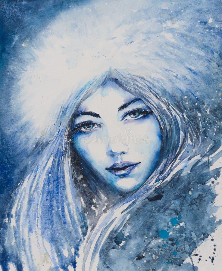 La femme bleue a dépeint l'hiver illustration libre de droits