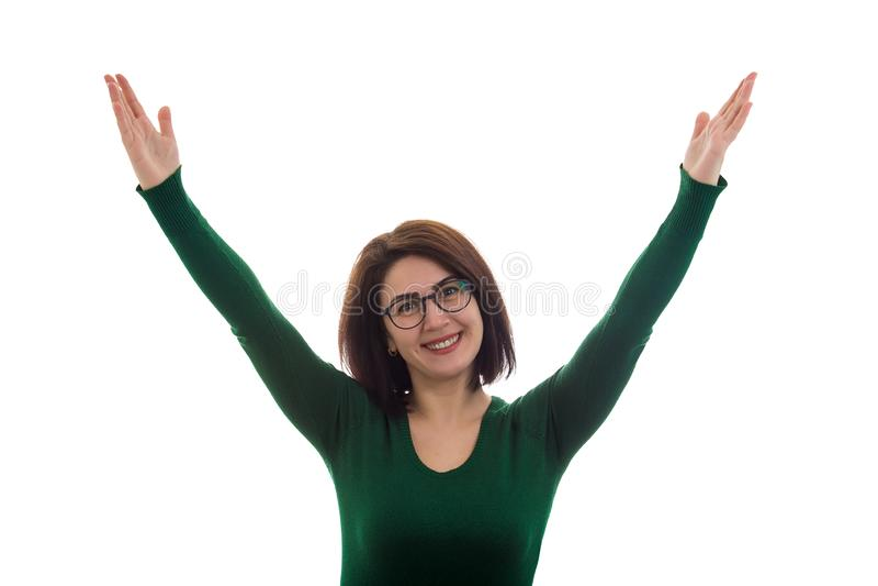 La femme célèbrent le succès photo stock