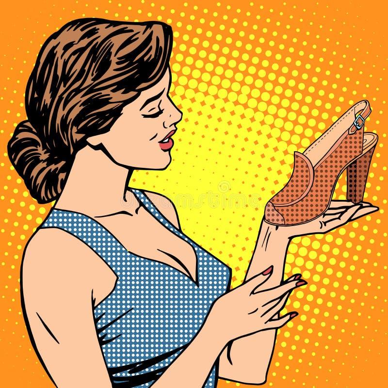 La femme chausse des marchandises illustration libre de droits