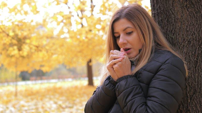 La femme congelée se tenant dans Autumn Street At The Tree chauffe ses mains respirant photographie stock libre de droits