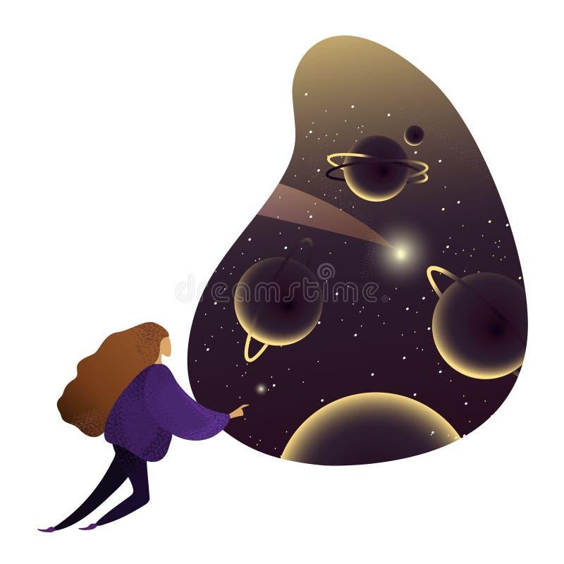 La femme considèrent le cosmos, galaxie Personne rêvant de l'espace illustration libre de droits