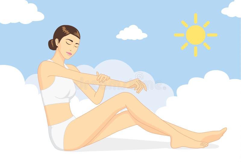 La femme consolident la peau au jour illustration libre de droits