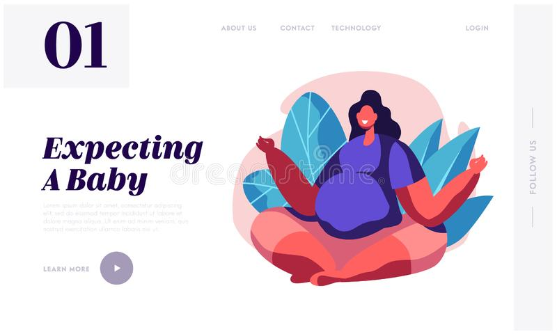 La femme décontractée enceinte heureuse avec le grand ventre s'asseyent en Lotus Pose Doing Yoga Asana Bébé de attente de personn illustration stock