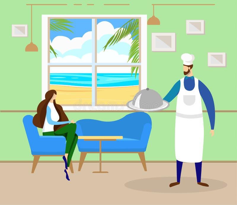 La femme détendent en café sur le bord de la mer avec la belle vue illustration libre de droits