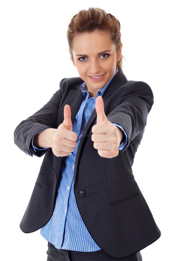 La femme d'affaires affiche les deux pouces vers le haut, d'isolement photos libres de droits