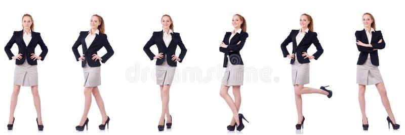 La femme d'affaires avec la serviette d'isolement sur le blanc images libres de droits