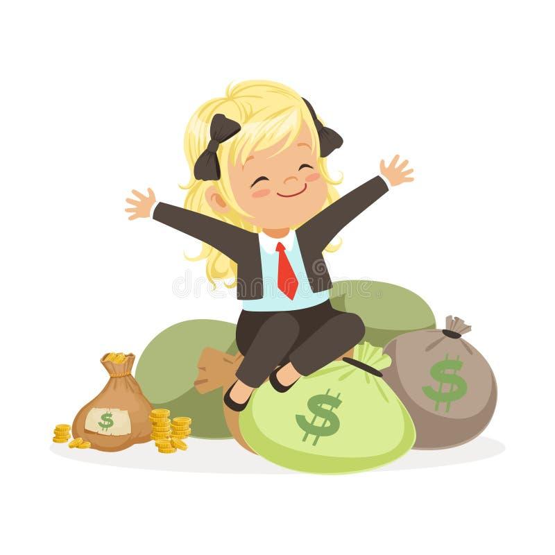 La femme d'affaires blonde heureuse de fille s'asseyant sur des sacs d'argent, l'épargne d'enfants et les finances dirigent l'ill illustration stock