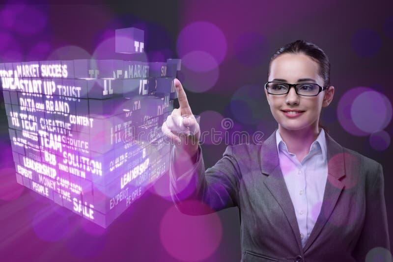 La femme d'affaires dans le concept de plan de ponzi images libres de droits