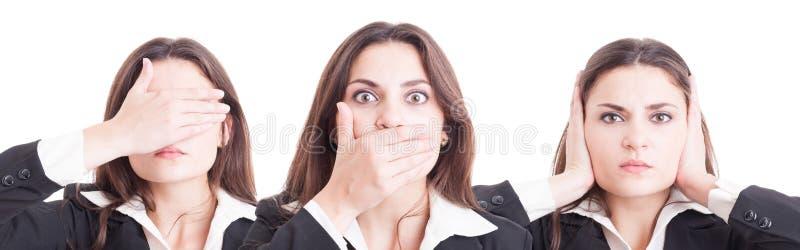 La femme d'affaires dans trois positions aveuglent, muet et sourd photographie stock