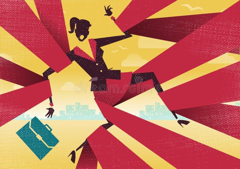 La femme d'affaires est rattrapée dans de service bureaucratique illustration libre de droits