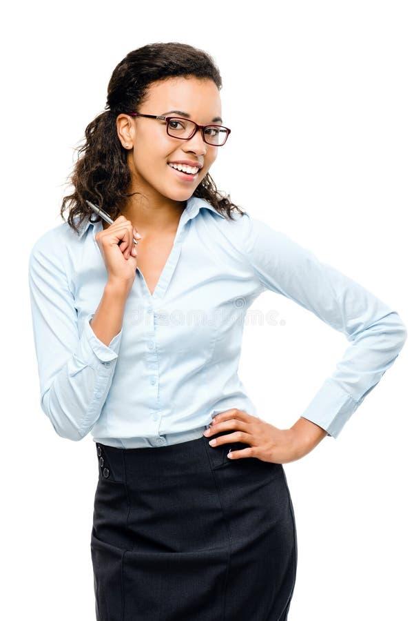 La femme d'affaires heureuse d'Afro-américain a l'idée d'isolement photos libres de droits