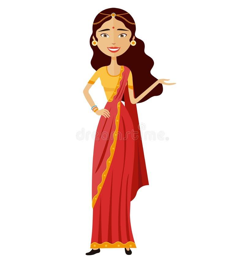La femme d'affaires indienne présente à quelque chose le vecteur bande dessinée plate illustration de vecteur