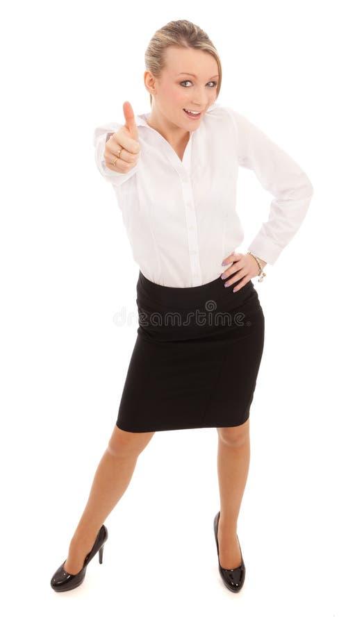 La femme d'affaires manie maladroitement vers le haut photographie stock