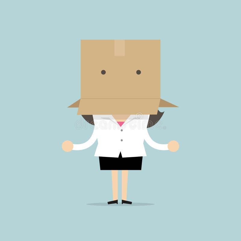 La femme d'affaires pense à la maison Femme d'affaires avec une boîte en carton sur sa tête illustration stock