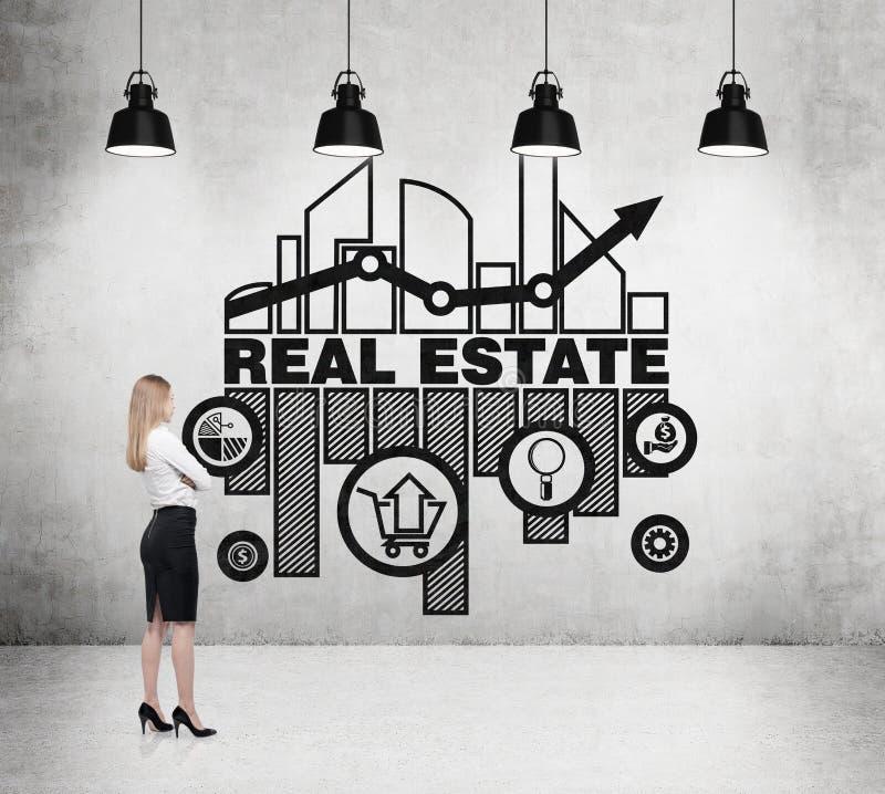 La femme d'affaires pense aux occasions du marché de l'immobilier illustration de vecteur