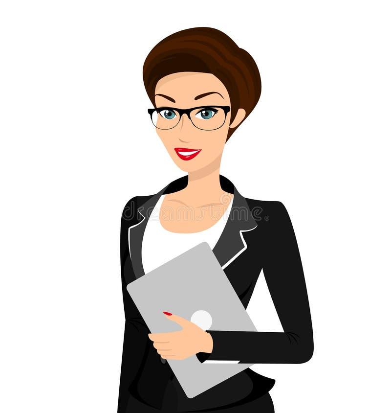 La femme d'affaires porte le costume noir d'isolement dessus illustration stock