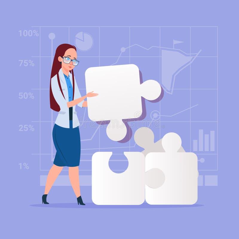 La femme d'affaires résolvent le concept de solution de puzzle illustration de vecteur