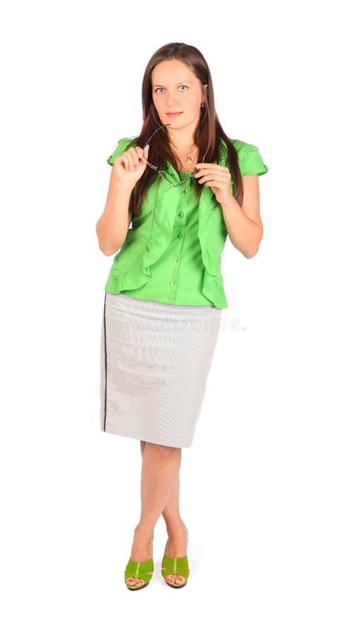 La femme d'affaires retient des glaces dans le studio photos stock