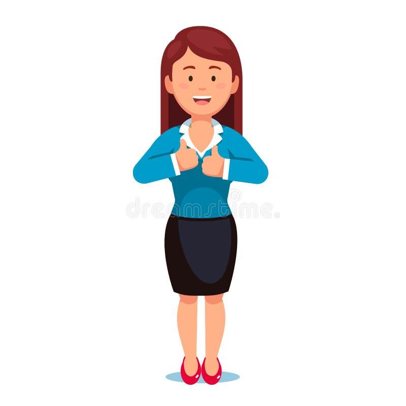 La femme d'affaires rousse montrant des pouces lèvent le geste illustration stock