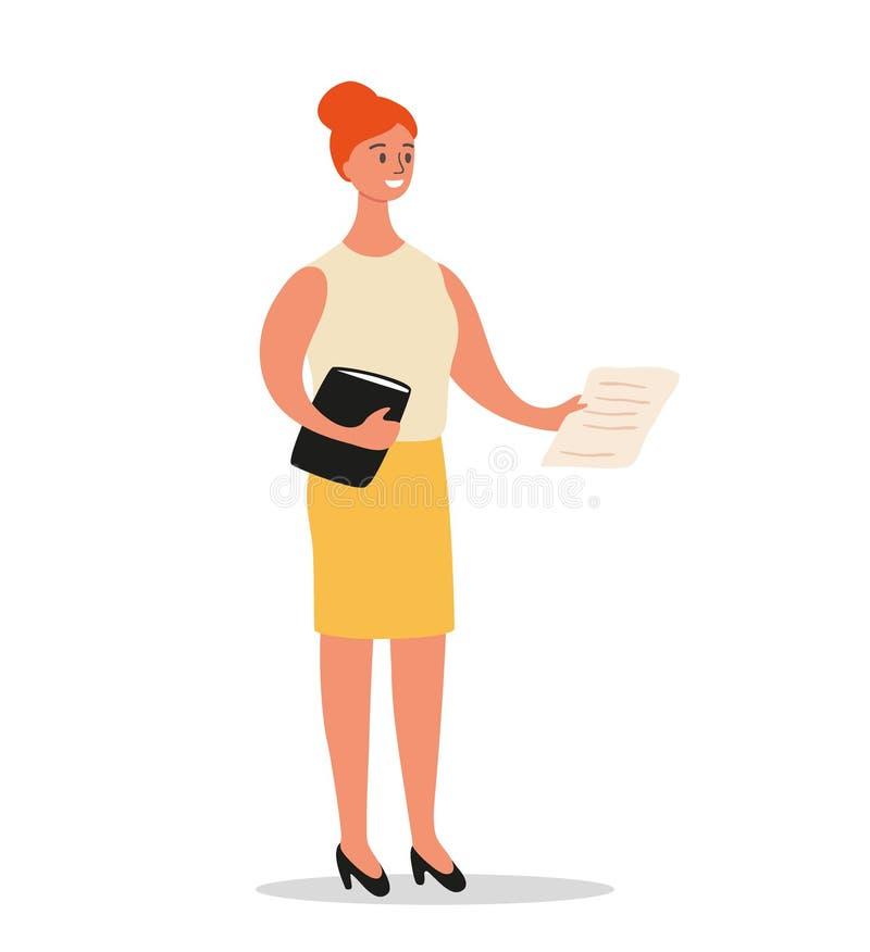 La femme d'affaires se tient avec un dossier et des documents à disposition Conception de personnages d'employé de bureau ou d'en illustration stock