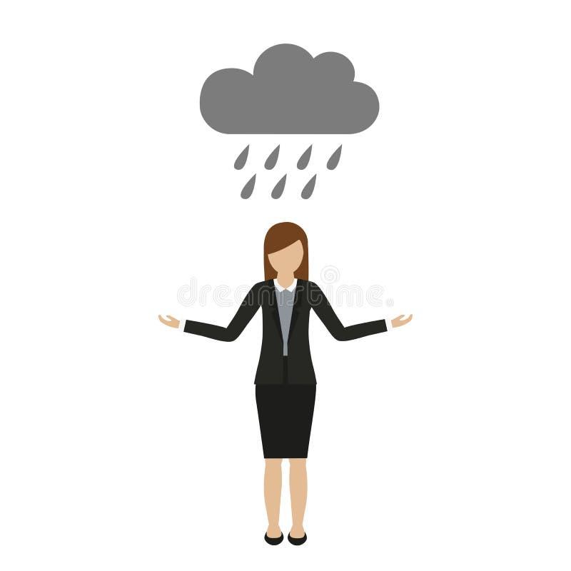 La femme d'affaires se tient sous la pluie sous un nuage illustration de vecteur