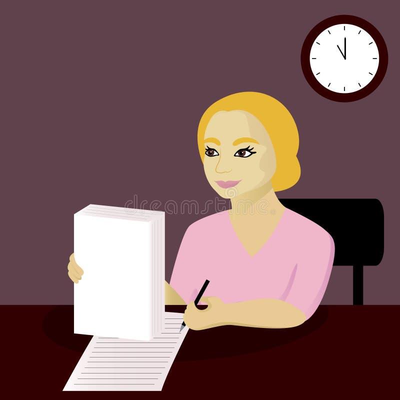 La femme d'affaires signe des documents dans le bureau illustration de vecteur
