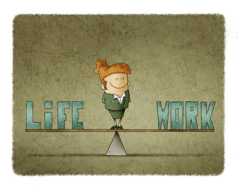 La femme d'affaires sur une échelle dans laquelle soyez les mots travaillent et la vie illustration de vecteur
