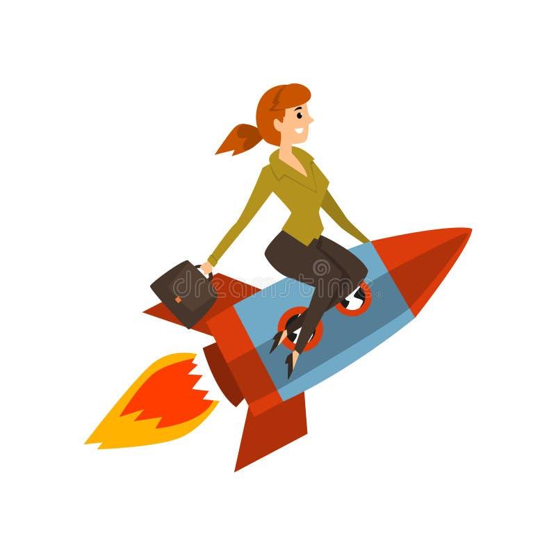 La femme d'affaires sur une fusée, réussie lancent le projet d'affaires, illustration de vecteur de processus de développement su illustration de vecteur