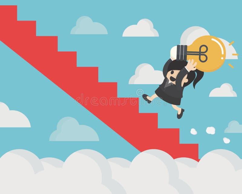 la femme d'affaires tenant l'ampoule a couru vers le haut du Web conceptuel i d'escaliers illustration stock