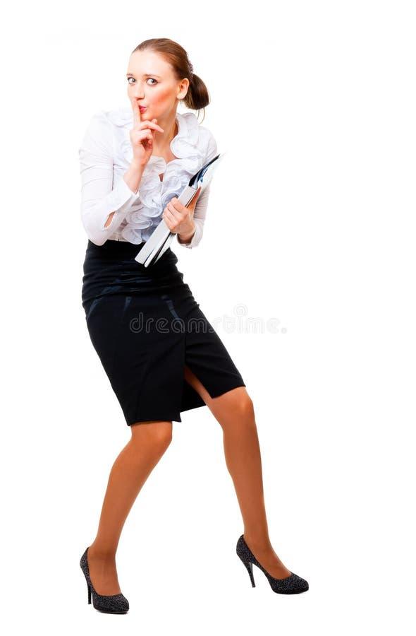 La femme d'affaires a volé les fichiers secrets. photos libres de droits