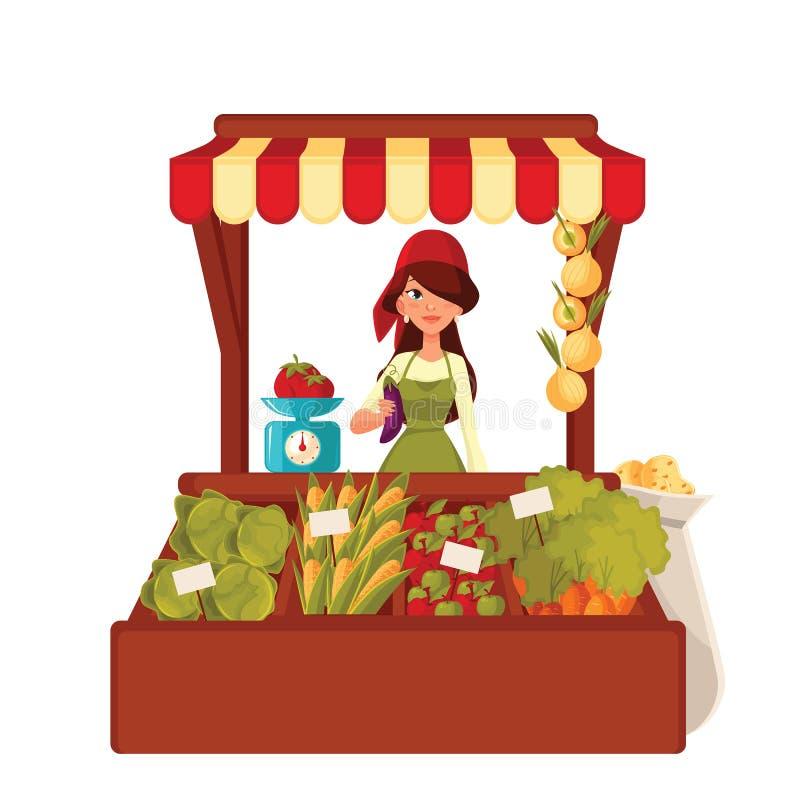 La femme d'agriculteur vend des légumes en vrac illustration stock