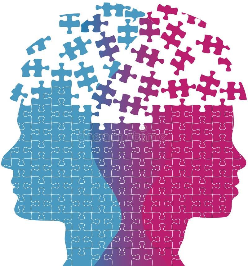 La femme d'homme fait face au puzzle de problème de pensée d'esprit illustration de vecteur