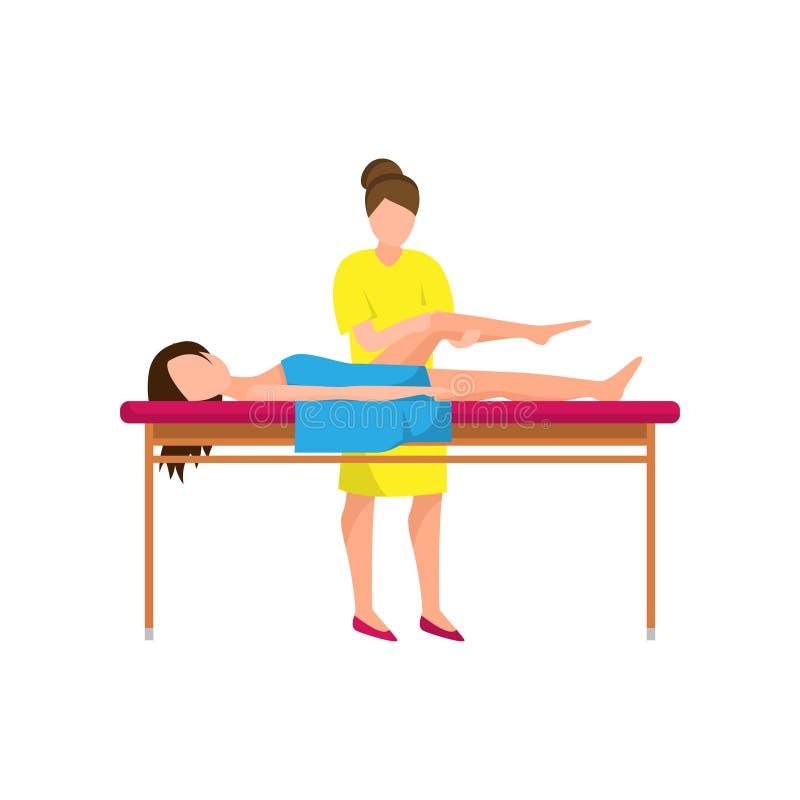 La femme dans des vêtements jaunes font le massage de traitement à la jambe illustration libre de droits