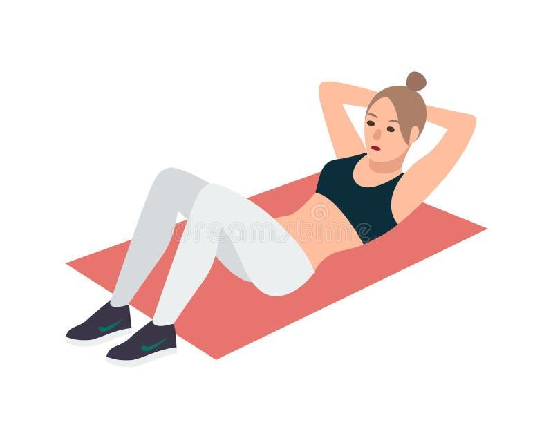 La femme dans la forme physique vêtx le mensonge sur le tapis rose et exécuter l'exercice abdominal de craquement Faire femelle d illustration libre de droits