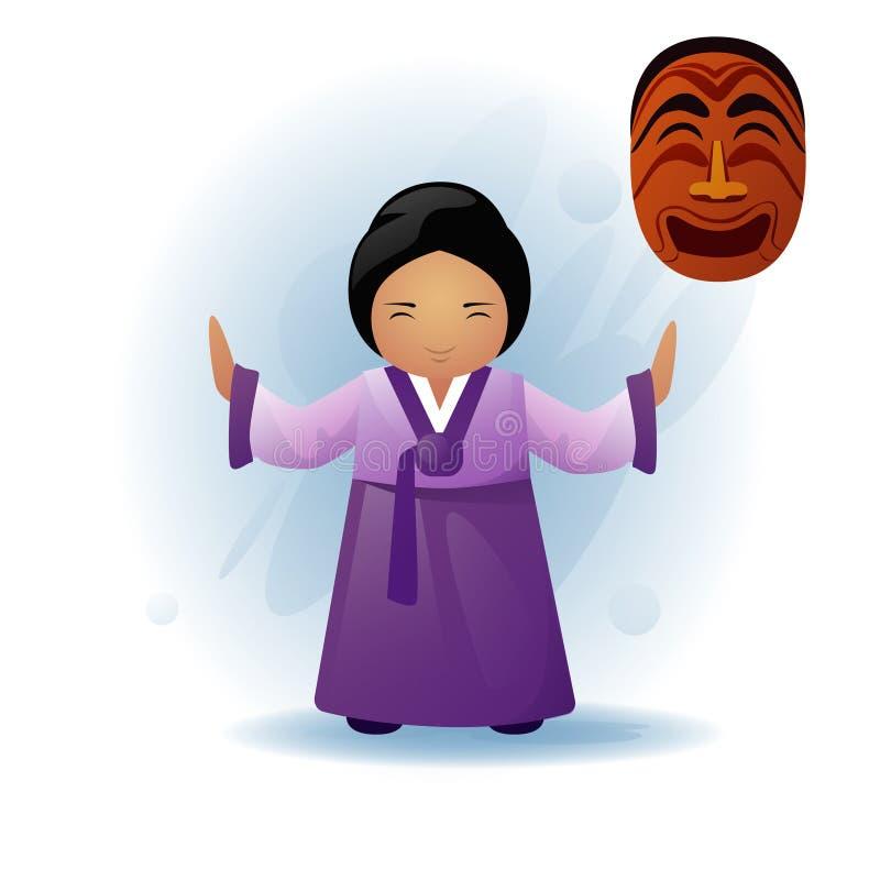 La femme dans l'Asiatique traditionnel vêtx le kimono dansant le masque tribal ethnique illustration libre de droits