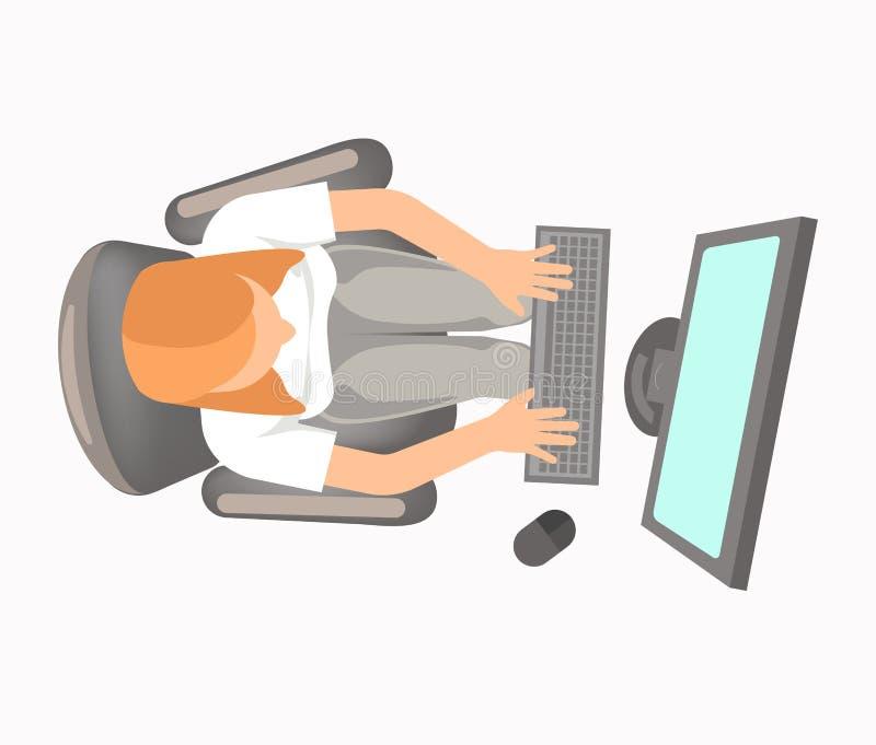 La femme dans l'habillement de bureau travaille sur la vue d'ordinateur à partir du dessus illustration stock
