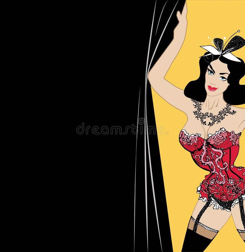 La femme dans la lingerie rouge sexy, brune avec l'arc sur la tête tient le rideau ouvre une exposition de cabaret calibre pour B illustration stock